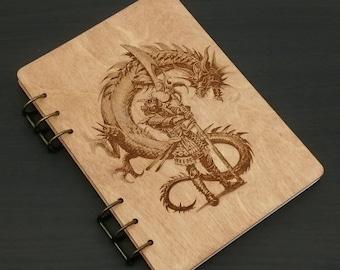 Wooden Notebook, Wood Journal, Engraved Notebook, Writing Handmade Journal, Dragon