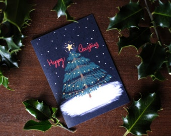 Illustrated Happy Christmas Tree Greeting Card - blank inside
