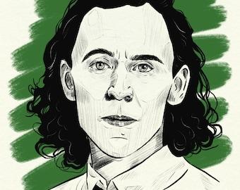 Loki Illustration Print A3 or A4 sizes