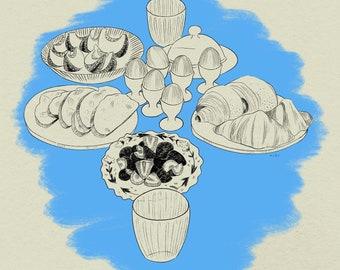 Blue Picnic Still Life Art Print A4