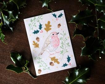 Illustrated Winter Botanical Festive Robin Christmas Greeting Card - blank inside