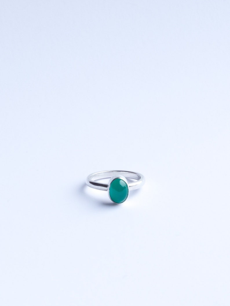 The Sweets  Sterling Silver Green Onyx stackable ring image 0