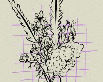 Flowers Still Life Art Print A4