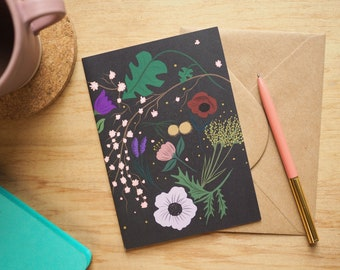 Imagined Flowers Botanical floral blank greetings birthday card