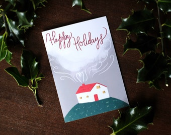 Illustrated Festive Home Happy Holidays Christmas Greeting Card - blank inside