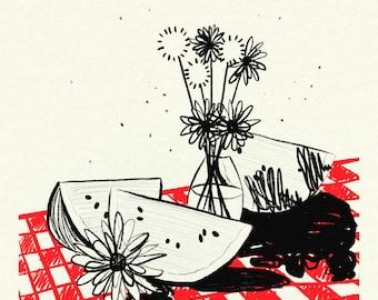 Late Summer Watermelon Still Life Art Print A4