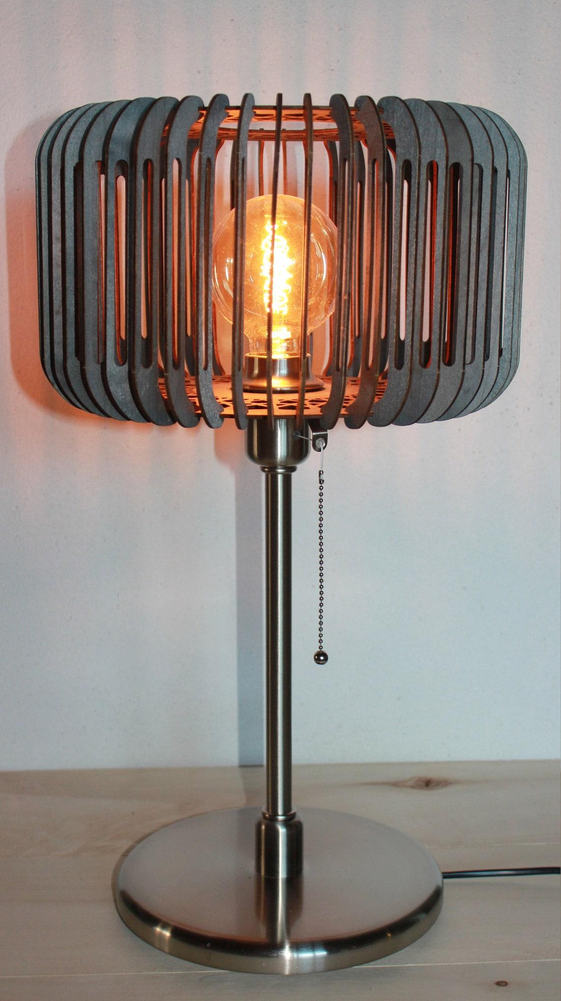 Wooden table lamp design to lay on foot, handmade, birch tinted black salon lamp GULUZ - Eclairage