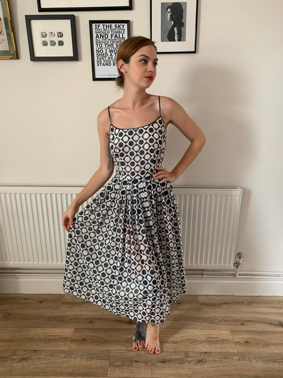 1950s vintage geometric sundress dress summer dres