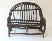 Vintage Handmade Mini Twig Bench, Rustic Plant Stand, Cottage Decor, Large Dollhouse Decor, Bentwood Bench, Chair, Garden Styling