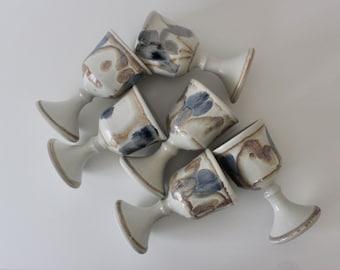 Vintage Pottery Goblets, Set of Six Stoneware Wine Sangria, Candle Holders, Planters, White Pottery Tea Cups, Sake Drink Drinkware Boho MCM