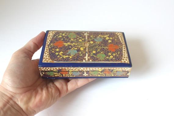 Trinket Box. Vintage Kashmir Dresser Box Composite Box in Black Gray and Gold Floral Painted Designs