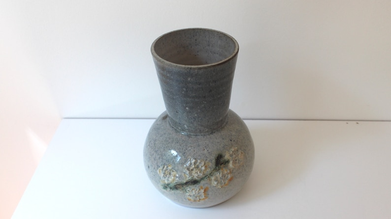 Table Setting Grey Blue with Yellow Raised and Painted Flowers Ceramic Vase Shelf Decor Texture Vintage Handmade Vase Signed Pottery
