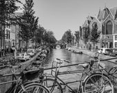 Transportation in Amsterdam, Netherlands – Fine Art Photography, Amsterdam, Netherlands, NL, Canal, Bicycle, Boat