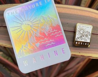 SET: Future is Wahine | Hawaiian Female Holographic Laptop or Water Bottle Sticker & Enamel Pin