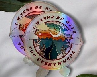 Holographic Adventuring Together Laptop Sticker | Be With You Everywhere Bumper Sticker |  Fleetwood Mac Camping Water Bottle Sticker