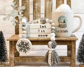 Snow Wooden Books,Let it Snow Mini Book stack, Snowman Books,Farmhouse, Tiered Tray Decor, Faux Book Bundle