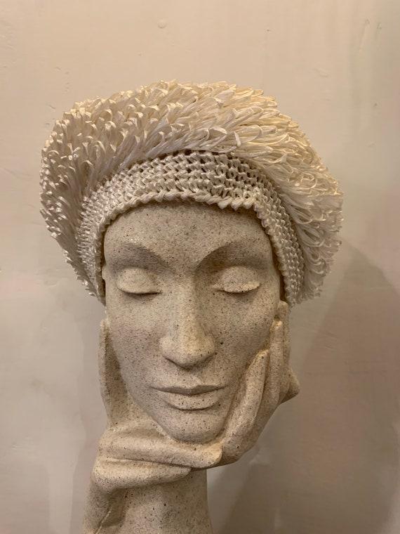 60s white raffia vintage hat