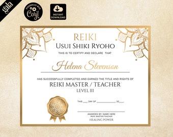 Reiki Certificate Template, Reiki Certificate Printable, Yoga teacher, Mandala 119
