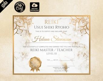 Reiki Certificate Template, Reiki Certificate Printable, Yoga teacher, Mandala, Chakra 120