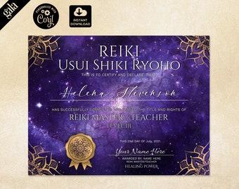 Reiki Certificate Template, Reiki Certificate Printable, Yoga teacher, Mandala, Chakra 005