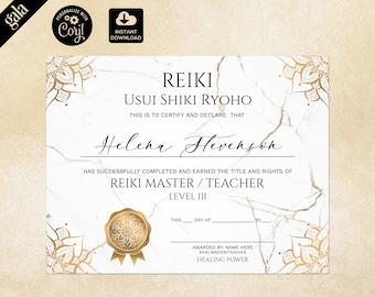 Reiki Certificate Template, Reiki Certificate Printable, Yoga teacher, Mandala, Chakra 121