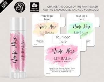 Lip Balm Labels Template, DIY Product Label, Editable lip balm Label Templates,  lip gloss Label Design, Editable Label, WATERCOLOR  011