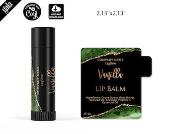 Lip Balm Labels Template, Green emerald agate DIY Product Label, Editable lip balm Label Templates,  lip gloss Label Design, 020