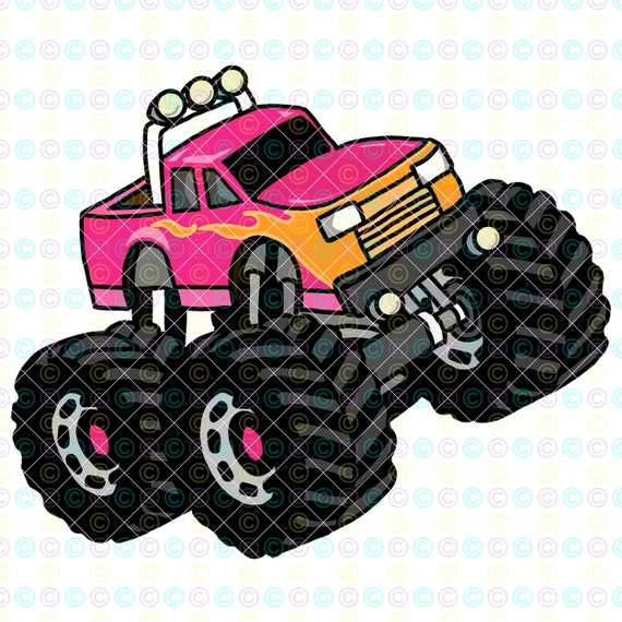 Pink With Flames Monster Truck Png Monster Truck Shirt Etsy
