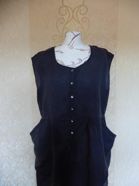 Black Linen GUDRUN SJODEN Vintage Dress/Loose Slee
