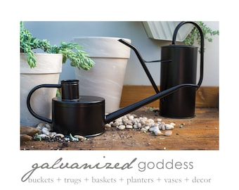 Black watering can, 2 styles, houseplant watering, modern chic, modern decor, indoor watering, hanging plant, small watering
