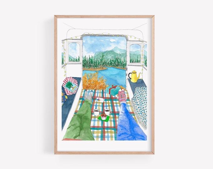 Campervan illustration Art Print