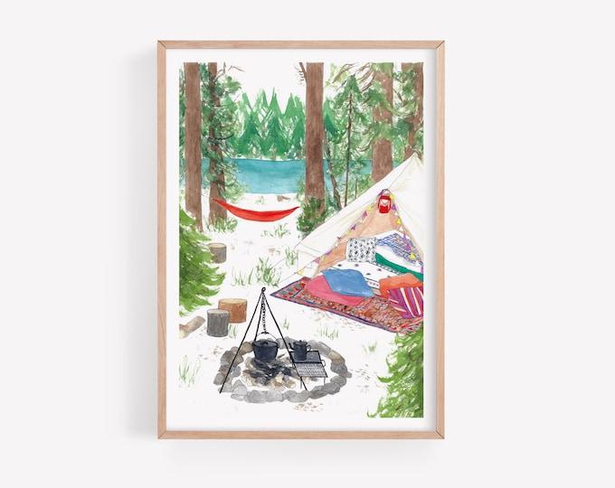 Lakeside Camping Art Print