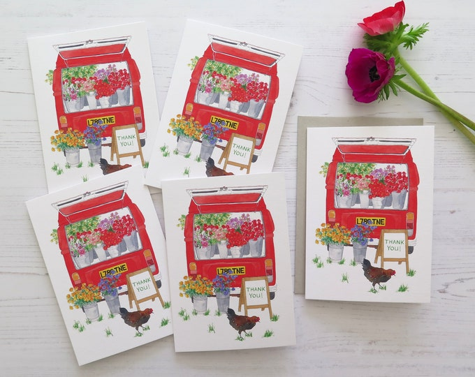 Flower Truck Thank You Cards - Pack of 5