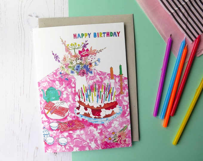 Birthday Tea Party Greeting Card