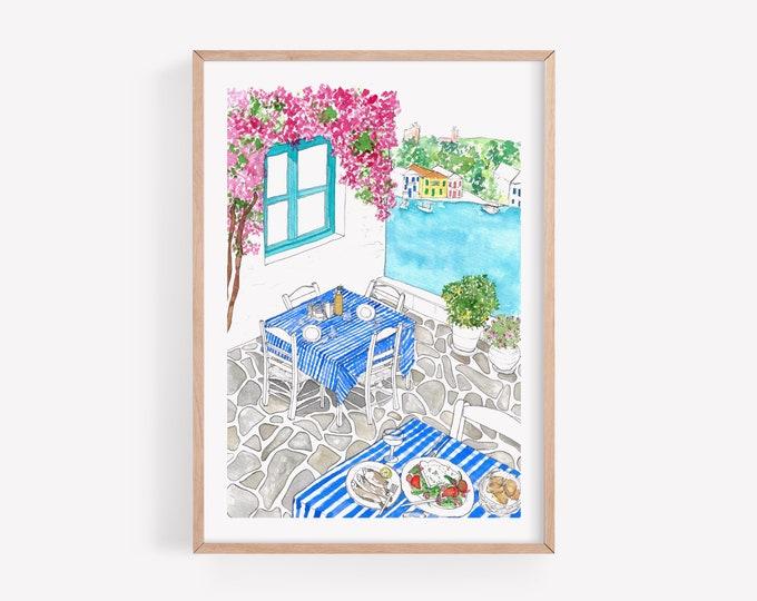 Greek Taverna Art Print