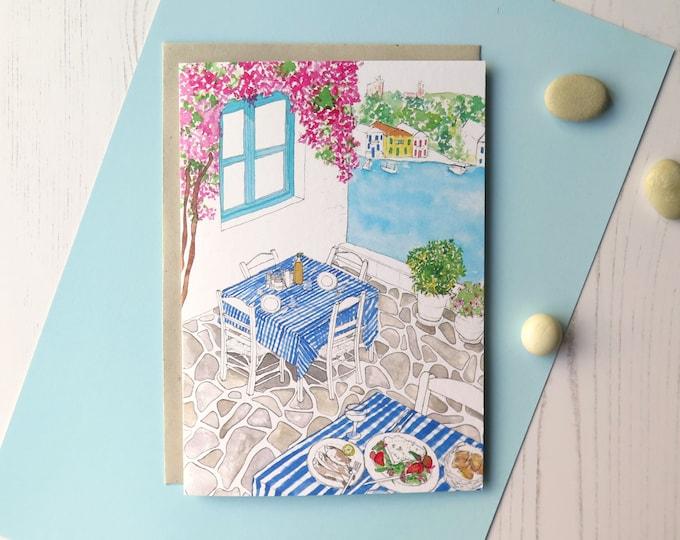 Greek Taverna Greeting Card