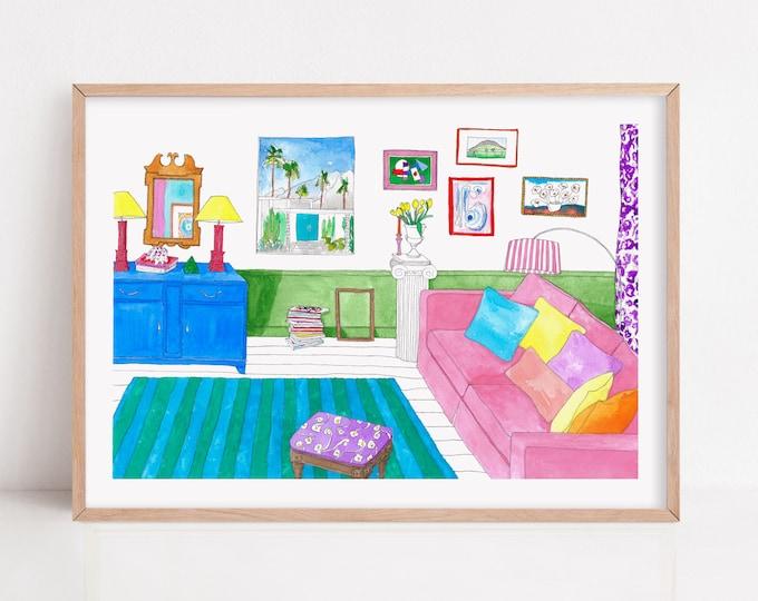 Colour block Interior Art Print