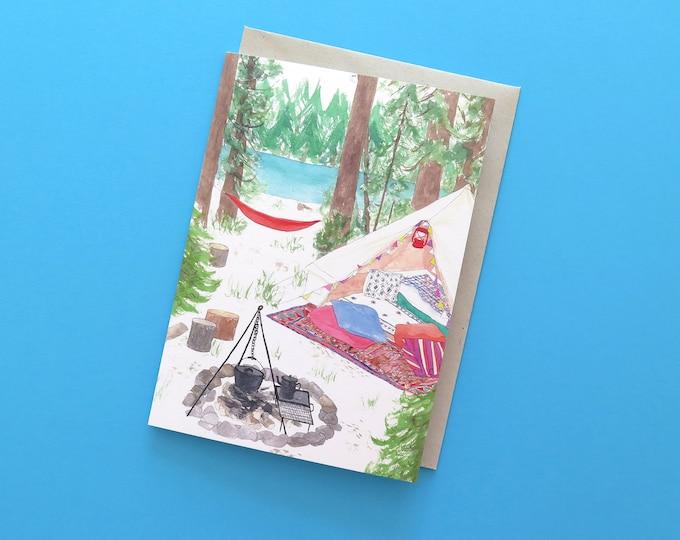 Lakeside Camping Greeting Card