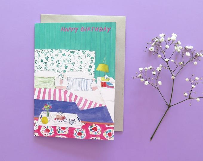 Birthday Breakfast in Bed Greeting Card