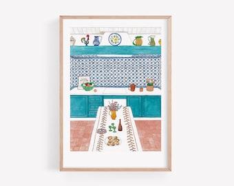 Portuguese kitchen Art Print / Signed limited edition print / Wall Decor / Interior Illustration / Portuguese