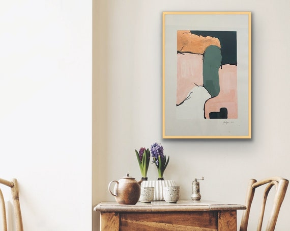 Abstract Painting on Paper | Rose gold foil painting | Framed Art | Original Art | Gold Guilded Frame | Gallery Wall Art | Original Art