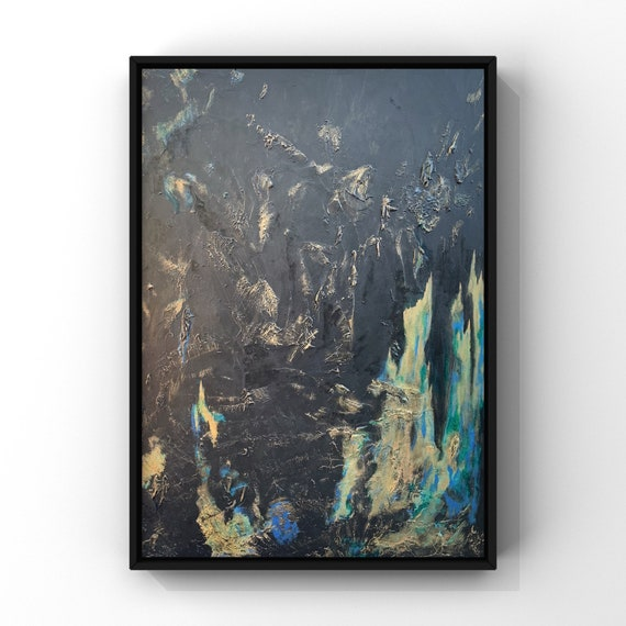 Modern Abstract Painting in Black Wyvern Hide and Blue Flame Inspired Original Art Acrlyic on Canvas 4'x3'