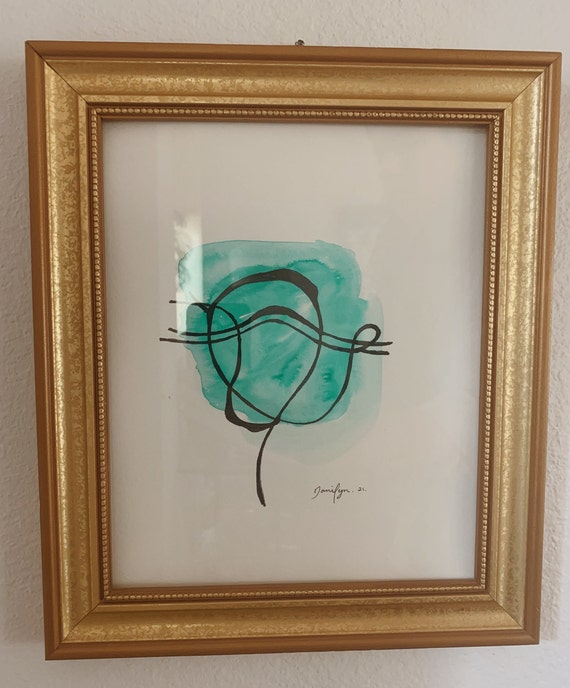 Original Minimalist Line Art | Aqua Acrlyic Ink | Original Danilyn Art | Gold Embossed Frame | Aqua Green Painting | Symplictic Acrlyic Ink