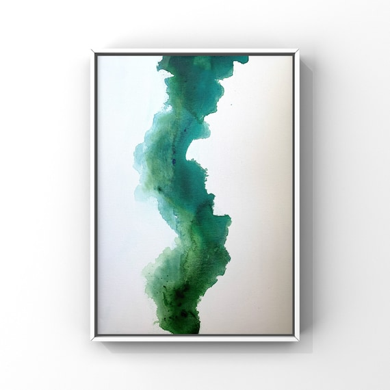 """Modern Green and Aqua Original Art 