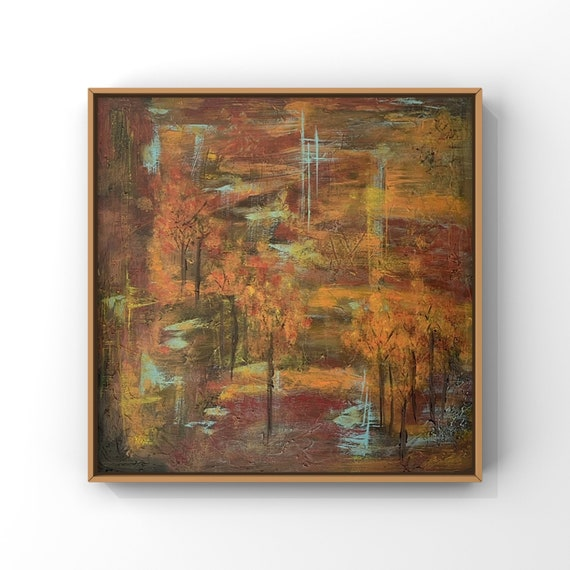 Orange Red and Brown Painting | Original Abstract Tree Painint |  Acrylic Painting on Streched Canvas 2'x2' | Fall Inspired | Original Art