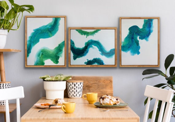 """Aqual and Green Original Art Paintings 