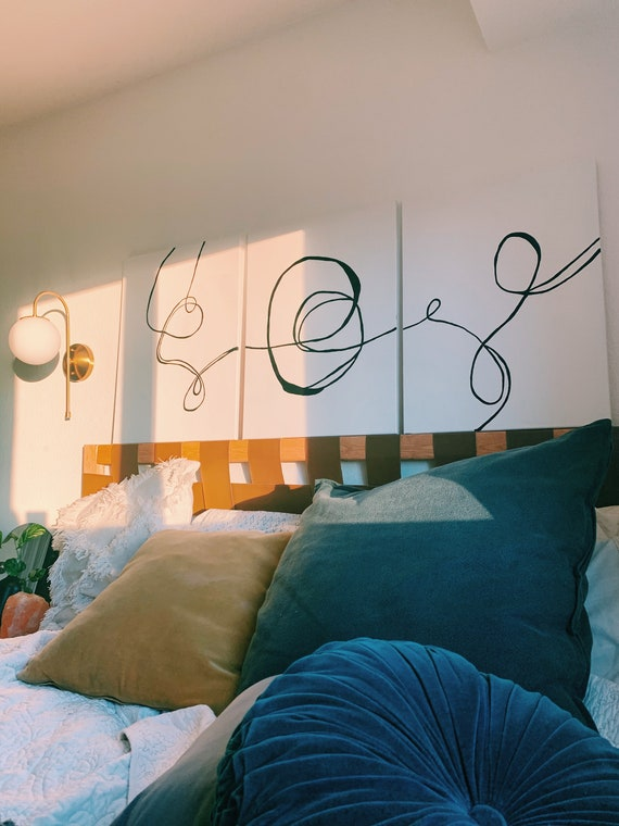 Modern Abstract Line Art on Canvas Set of Three | Original Line Art On Canvas | Minimulistic Line Art on Canvas | Origninal Painting | Wall