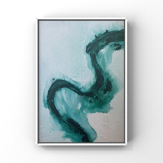 "Modern Green and Aqua Original Painting | Original Abstract Art | Fluid Inspired Art |  16""x20"" Abstract Fluid Inspired Acrylic Painting|"