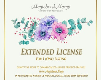 Provides the right to commercial use of any graphics  by MagicbrushMargo in an unlimited number of projects and sales. Unlimited license