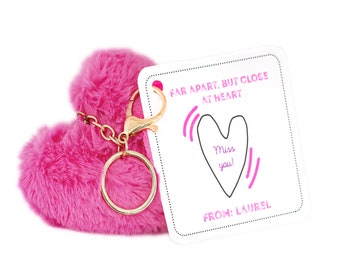 Personalized Isolation Gift, Quarantine surprise, Social Distancing Card with Pink Heart Charm Keychain